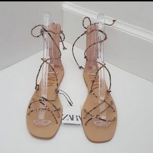 Zara snake print strappy gladiator sandals 38/7.5
